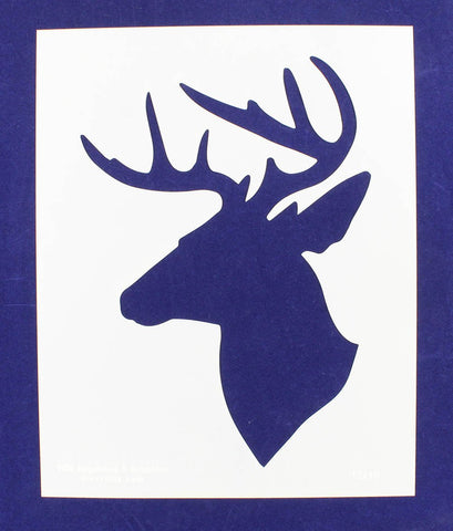 "Buck-Deer Head Stencil -S-Mylar 14 Mil 15""H X 12""W - Painting /Crafts/ Templates"