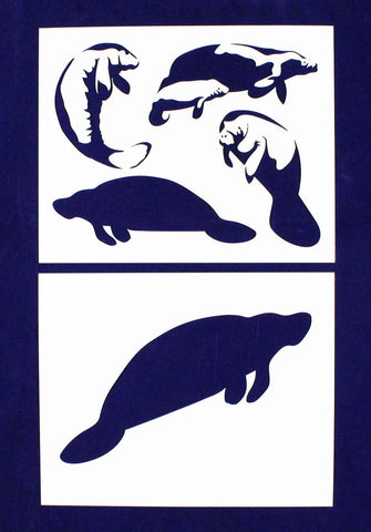 Manatee Stencils -2 pc set-Mylar 14mil - Painting /Crafts/ Templates