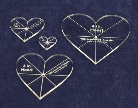 "Heart Template 4 Piece Set. 1"",2"",3"",4"" - Clear 1/8"" Thick w/ guidelines"