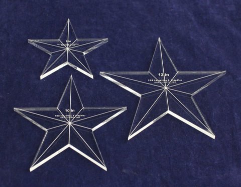 "Star Template 3 Piece Set. 8"",10"",12"" - Clear 1/4"" Thick w/ Guidelines & Center Hole"