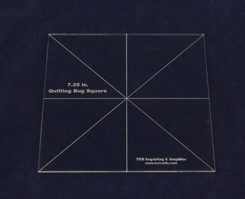 Square Template 7.25 Inch- Quilting Bug Clear 1/8 Inch Thick