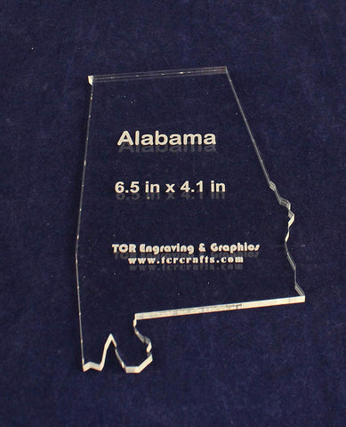 "State of Alabama Template 6.5"" X 4.1"" - Clear 1/4"" Thick Acrylic"