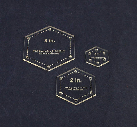 Hexagon Quilt Templates. 1/8 Inch 1, 2, 3 Inches - Clear w/Guide Line Holes