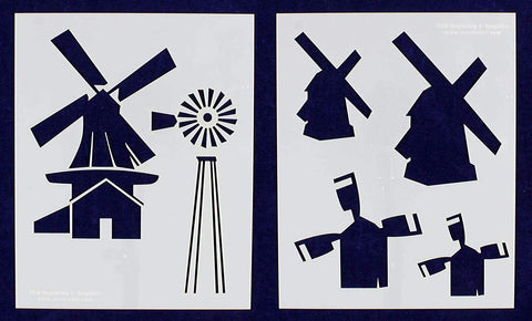 Windmill Stencils - 2 Pc set- 14 Mil Mylar