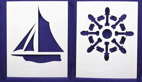 "Sailing/Ship Wheel -2 Piece Stencil Set 14 Mil 8"" X 10"" Painting /Crafts/ Templates"