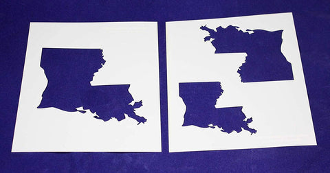 "State of Louisiana 2 pc Stencil Set-Mylar 14 Mil 4"",5', 6"" - Painting /Crafts/ Templates"