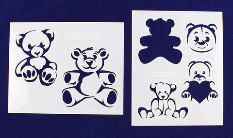 "Teddy Bear -2 Piece Stencil Set 14 Mil 8"" X 10"" Painting /Crafts/ Templates"