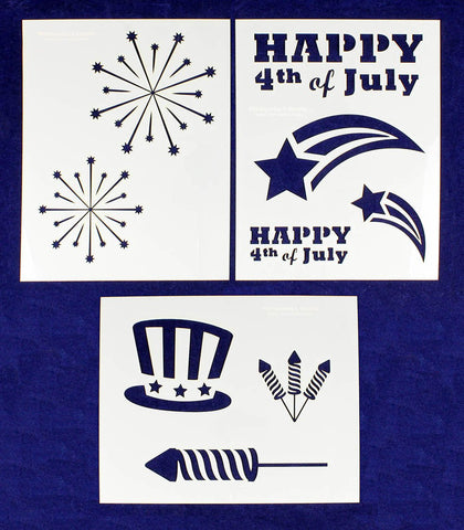 "Patriotic Stencils Mylar 3 Pieces of 14 Mil 8"" X 10"" - Painting /Crafts/ Templates"