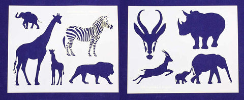 "Safari Animals -2 Piece Stencil Set 14 Mil 8"" X 10"" Painting /Crafts/ Templates"