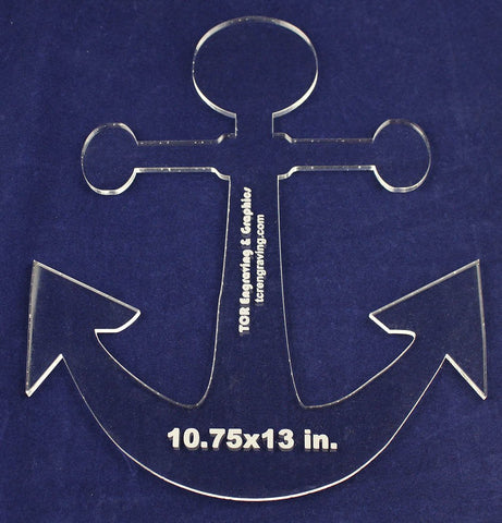 "Anchor 10.75""x 13"" - ~1/4"" Thick - Clear Acrylic - Quilting/sew/craft Template"