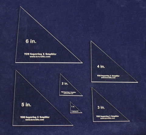 "Triangle Templates. 1"", 2"" 3"", 4"", 5"", 6"" No Seam - Clear 1/8"""