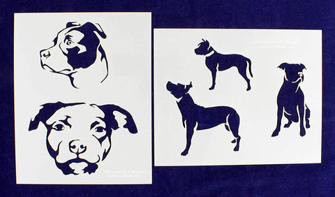 "Pit Bull Dog Stencils-Mylar 2 Pieces of 14 Mil 8"" X 10"" - Painting /Crafts/ Templates"