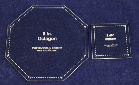 "Matching Square/Octagon Set Templates. 6"". - Clear 1/8"""