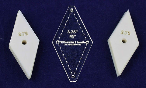 "Mylar 3.75""- 45 Degree Diamonds 51 Piece Set - Quilting / Sewing Templates"