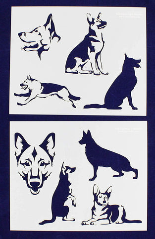 "German Shepard Dog Stencils-Mylar 2 Pieces of 14 Mil 8"" X 10"" - Painting /Crafts/ Templates"
