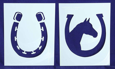 "Horse/Horseshoe LG Stencils Mylar 2 Pieces of 14 Mil 8"" X 10"" - Painting /Crafts/ Templates"