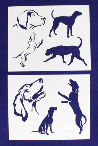 "Blue Tic Hound Dog Stencils-Mylar 2 Pieces of 14 Mil 8"" X 10"" - Painting /Crafts/ Templates"