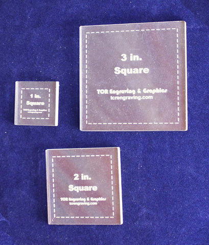 "Square Templates. 1"", 2"", 3"". - Clear 1/8"""
