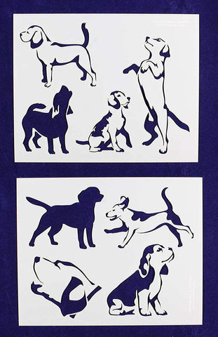 "Beagle Dog Stencils-Mylar 2 Pieces of 14 Mil 8"" X 10"" - Painting /Crafts/ Templates"