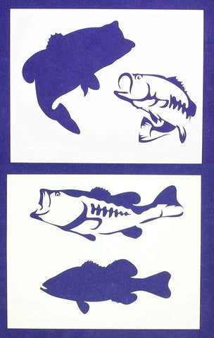 Bass (fish) Stencils-8x10 -2 pc set-Mylar 14mil - Painting /Crafts/ Templates