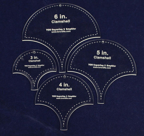 "Clamshell Templates. 4 Piece Set -3"",4"", 5"", 6"". - Clear Acrylic 1/8"""