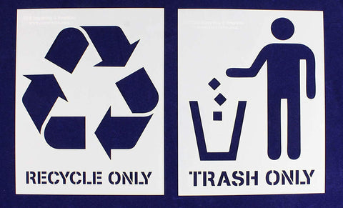 Recycle-Trash (with words) 2 Piece Stencil Set 14 Mil 8 X 10 Inches