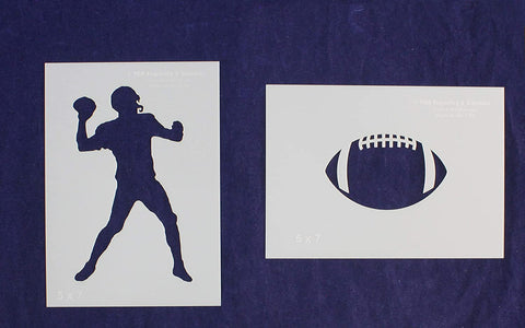 Football Stencils 2 Piece Set 5 x 7 Inches