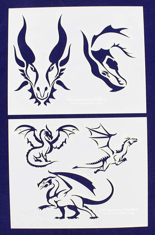 "Dragons -2 Piece Stencil Set 14 Mil 8"" X 10"" Painting /Crafts/ Templates"
