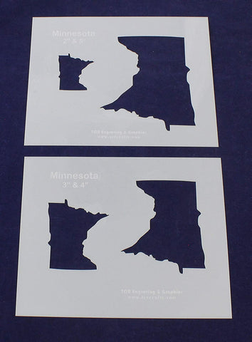 State of Minnesota 2 Piece Stencil Set 8 X 10 Inches-4 Images