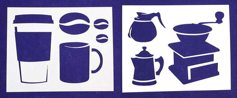 "Coffee Themed 2 Piece Stencil Set 14 Mil 8"" X 10"" Painting /Crafts"