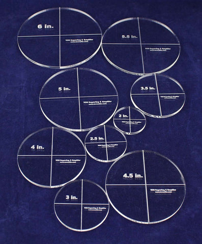 "Circle Template 9 Piece Set - Clear ~1/4"" Thick Acrylic-Quilting"