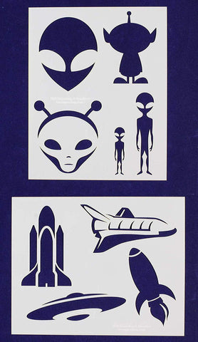 Alien/Spaceship Stencils -2 pc set-Mylar 14mil - Painting /Crafts/ Templates