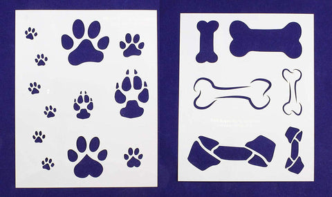 "Dog Bone/Paw Print 2 Piece Stencil Set 14 Mil 8"" X 10"" Painting /Crafts/ Templates"