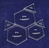 6 Piece Quilt Templates Equilateral Triangles & Hexagon Set 1/8""