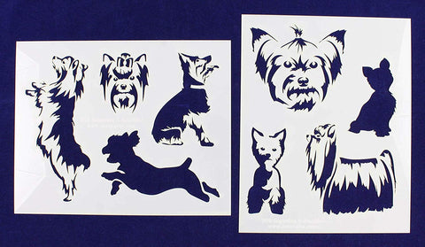 "Yorkies-2 Piece Stencil Set 14 Mil 8"" X 10"" Painting /Crafts/ Templates"