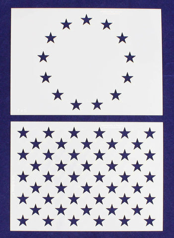"2 Pc- 5"" x 7"" -13 Star Revolutionary War & 50 Star Fields. Stencils"