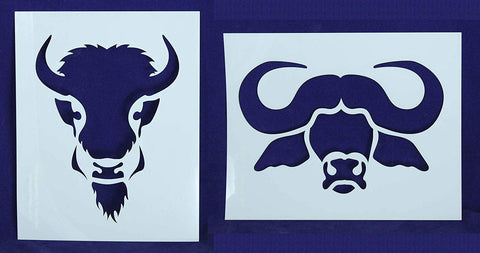 "Buffalo/Bison Head Stencils Mylar 2 Pieces of 14 Mil 8"" X 10"" - Painting /Crafts/ Templates"