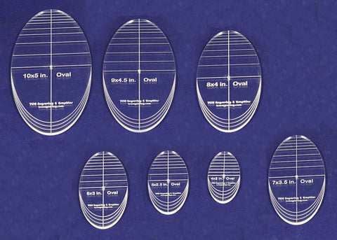 "Oval Quilt Templates 7 Piece Set. 4""-10"" - Multi Purpose 1/4"""