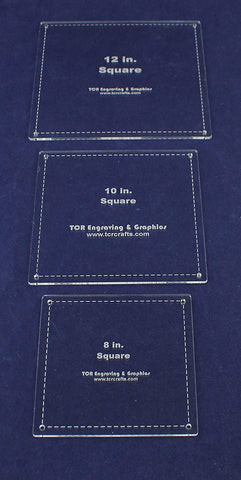 3 Piece Square w/Seam Templates Set -8, 10,12 Inches Clear Acrylic 1/8 Inch