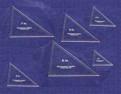 "Triangle Templates. 3"", 4"", 5"", 6"", 7"", 8"" - Clear 1/8"""