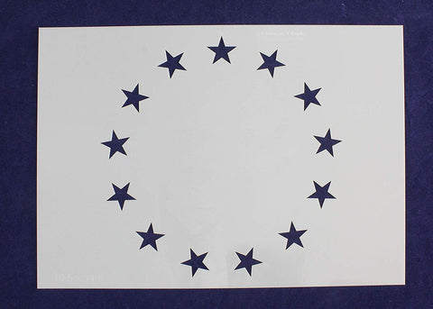 13 Star Betsy Ross Revolutionary Field Stencil - 10.5 x 14.8 Inches