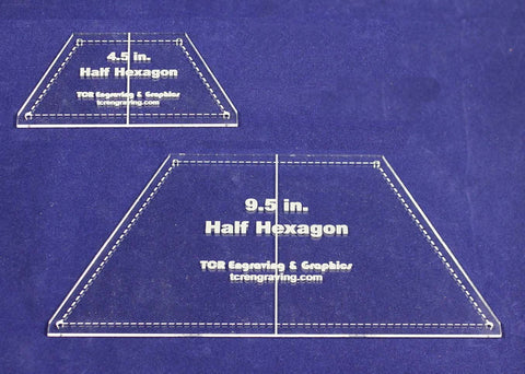 "Half Hexagon Quilt Templates 4.5"" & 9.5"" - Clear w/ Center Guideline & Guideline Holes 1/8"""
