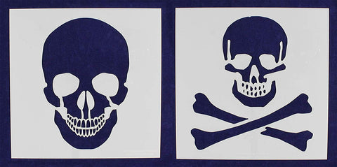 "2 Piece Set Skull & Skull & Bones Stencils 14 Mil 16"" X 16"" Painting /Crafts/ Templates"