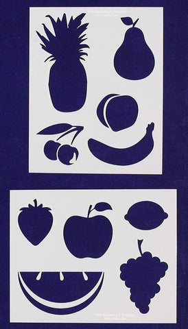 Fruit Stencils -2 pc set-Mylar 14mil - Painting /Crafts/ Templates