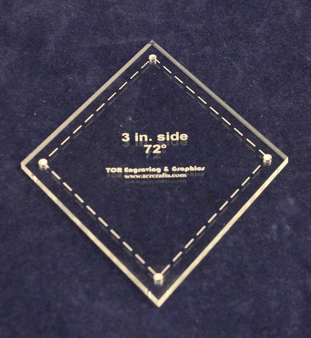 "Diamond Template 3"" Side- Clear 1/8"" 72 Degree"