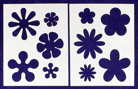 "Hippie Flower 2 Piece Stencil Set 14 Mil 8"" X 10"" Painting /Crafts/ Templates"