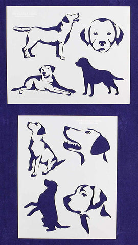 "Labrador Retriever Dog Stencils-Mylar 2 Pieces of 14 Mil 8"" X 10"" - Painting /Crafts/ Templates"