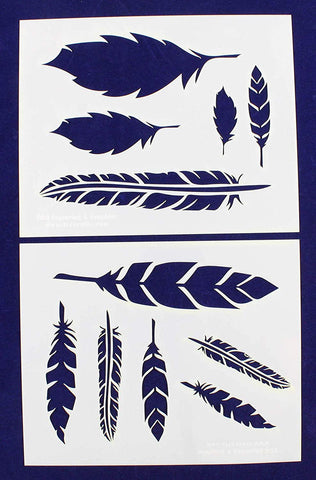 "Feathers-2 Piece Stencil Set 14 Mil 8"" X 10"" Painting /Crafts/ Templates"