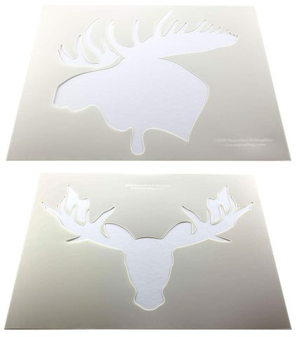"Moose Head Stencils 2 pc set F/S-Mylar 14 Mil 14""H X 17.5""W - Painting /Crafts/ Templates"