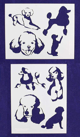 "Poodle Dog Stencils-Mylar 2 Pieces of 14 Mil 8"" X 10"" - Painting /Crafts/ Templates"